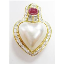 18k Yellow Gold Mobe Pearl Heart Pendant w/ Ruby & Diamonds - 37 round brilliant cut diamonds, TAW: