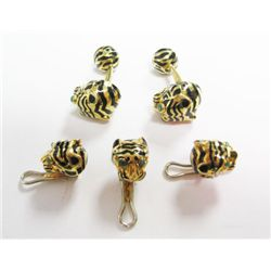 David Webb Tigers Set of 18k Yellow Gold Cuff Links & Tuxedo Studs - David webb enamel cuff links w/
