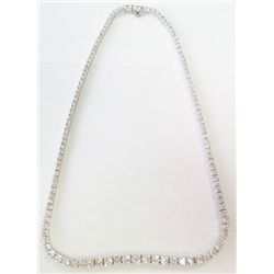 Platinum Tennis Necklace w/ Round Brilliant Cut Diamonds, TAW: 17 carats - 127 round brilliant cut d