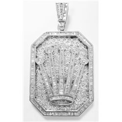 "14k White Gold Diamond ""ROLEX"" style Crown Pendant w/ Baguette & Round Brilliant Cut Diamonds - 135"