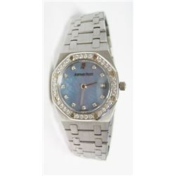 Ladies Stainless Steel Audemars Piguet Royal Oak Quartz Watch - 25mm case, Factory original diamond