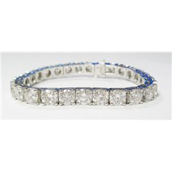 "14k White Gold ""Tennis"" Bracelet w/ Round Brilliant Cut Diamonds, TAW: 27.27 carats. 27 round brilli"