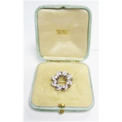 Tiffany & Co Platinum & 18k Yellow Gold Victorian Pin - 8 european cut diamonds, approx. 1.5 carat +