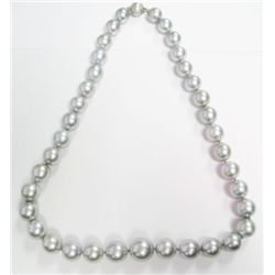 Gray Pearl Necklace w/ 14k White Gold & Diamonds Clasp - 37 gray pearls approx. ranging from 10.1mm