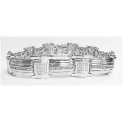 14k White Gold Bracelet w/ Princess & Round Brilliant Cut Diamonds - 200 princess cut diamonds, appr