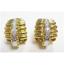 "Designer Signed ""WINC"" 18k Yellow Gold Clip On Earrings w/ Round Brilliant Cut Diamonds - 18 round b"
