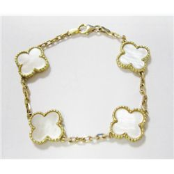 14k Yellow Gold Bracelet w/ Mother Of Pearl Clover Leafs - (4) Mother of Pearl clover leafs, length: