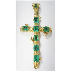 "18k Yellow Gold Cross w/ Emeralds - 8 emeralds, TAW: 5 carats, 2.1/4"" x 1.1/4"". Weight: 8.3 grams. ("