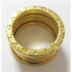 "BVLGARI BVLGARI 18k Yellow Gold Ring - Ring size: 5"". Weight: 10.6 grams. Stamped inside shank ""50 M"