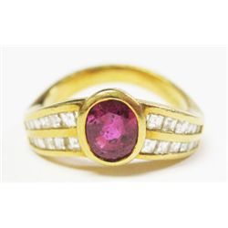 18k Yellow Gold Ring w/ Oval Cut Ruby & Emerald Cut Diamonds - 24 square emearld cut diamonds, TAW: