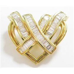 14k Yellow Gold Heart Pendant w/ Baguette Cut Diamonds - 52 baguette cut diamonds, TAW: 1.04 carat.
