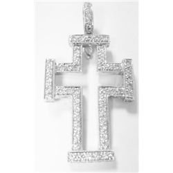 18k White Gold Cross Pendant w/ Round Brilliant Cut Diamonds - 53 round brilliant cut diamonds, TAW: