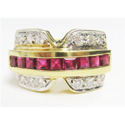 14k Yellow Gold Ring w/ Square Cut Rubies & Round Brilliant Cut Diamonds - 9 square cut rubies, TAW:
