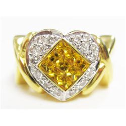18k Yellow Gold Ring w/ Square Cut Yellow Sapphires & Round Brilliant Cut Diamonds - 16 round brilli