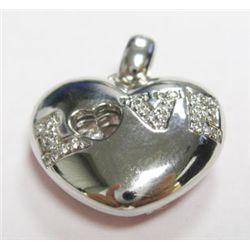 18k White Gold Diamond LOVE Heart Pendant - Approx. 0.43 carat of round brilliant cut diamonds, esti