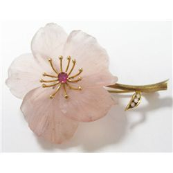 14k Yellow Gold Rock Crystal Flower Broach w/ Ruby & Round Diamonds - 3 round diamonds, TAW: 0.10 ca