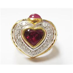 18k Yellow Gold Heart Ring w/ Rubies & Round Brilliant Cut Diamond - Approx. 1 carat heart shape cen