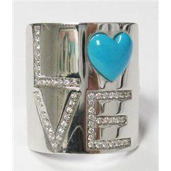 Giorgio Visconti 18k White Gold LOVE Ring w/ Round Cut Diamonds - 55 round brilliant cut diamonds, T