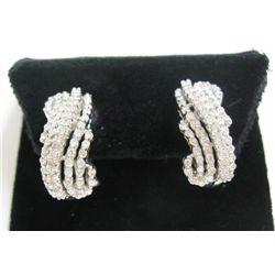 14k White Gold Pierced Earrings w/ Round Brilliant Cut Diamonds - Approx. 1.15 carat of round brilli