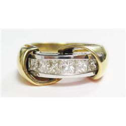 14k Yellow & White Gold Ring w/ Princess Cut Diamonds - 6 princess cut diamonds, TAW: 0.65 carat, es