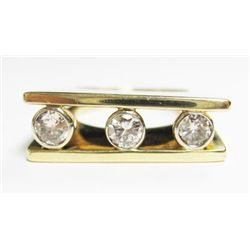 14k Yellow Gold Ring w/ 3 Round Brilliant Cut Diamonds - 3 round brilliant cut diamonds, TAW: 0.67 c