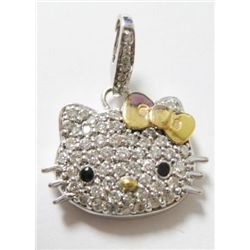 "Sanrio 18k White Gold ""HELLO KITTY"" Pendant w/ Round Brilliant Cut Diamonds - Approx. 1 carat round"