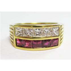 18k Yellow Gold Ring w/ Square Cut Rubies & Princess Cut Diamonds - 5 princess cut diamonds, TAW: 1