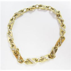 14k Yellow Gold Bracelet w/ Round Brilliant Cut Diamonds - 104 round brilliant cut diamonds, TAW: 1.