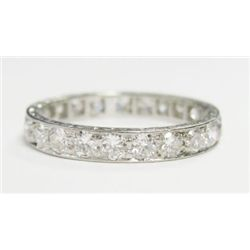 Platinum Eternity Band w/ Round Brilliant Cut Diamonds - 23 round  cut diamonds, TAW: 1.15 carat. Es