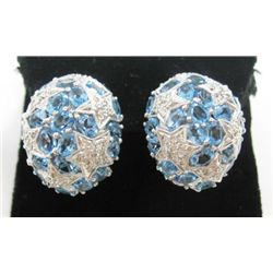 18k White Gold Pierced/Clip On Earrings w/ Aquamarine & Round Brilliant Cut Diamonds - 52 oval cut a