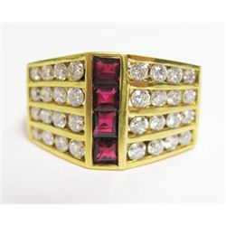 18k Yellow Gold Ring w/ Square Cut Rubies & Round Brilliant Cut Diamonds - Approx. 1.25 carats of ro