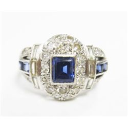 Art Deco Platinum Ring w/ Sapphire, Baguette & Round Cut Diamonds - Approx. 0.25ct emerald cut sapph