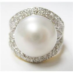 18k Yellow Gold Ring w/ Pearl, Pear, & Round Brilliant Cut Diamonds - 2 pear shape diamonds + 62 rou