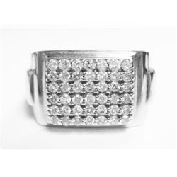 14k White Gold Ring w/ Round Brilliant Cut Diamonds - 42 round brilliant cut diamonds, TAW: 0.84 car