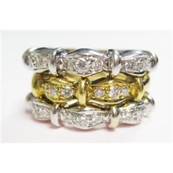 18k Yellow & White Gold Ring w/ Round Brilliant Cut Diamonds - 24 round brilliant cut diamonds, TAW: