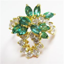 18k Yellow Gold Ring w/ Marquise Cut Emeralds & Round Brilliant Cut Diamonds - 16 round brilliant cu