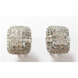 14k White Gold Pierced Earrings w/ Princess, Baguette, & Round Brilliant Cut Diamonds - Approx. 2 ca