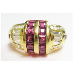 18k Yellow Gold Ring w/ Square Cut Rubies, Baguette, & Round Brilliant Cut Diamonds - Approx. 0.80 c