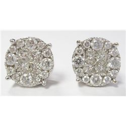 18k White Gold Pierced Earrings w/ Princess & Round Brilliant Cut Diamonds - Approx. 2 carats of rou