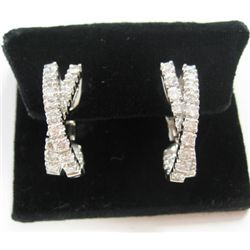 "18k White Gold ""X"" Pierced/Clip On Earrings w/ Round Brilliant Cut Diamonds - 48 round brilliant cut"