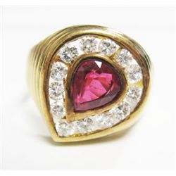 18k Rose Gold Ring w/ Approx. 1.48 carat Pear Shape Ruby & Round Brilliant Cut Diamonds - 13 round b