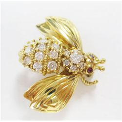 Tiffany & Co 18k Yellow Gold Bug Pin w/ Round Brilliant Cut Diamonds - Approx. 0.50 carat of round b