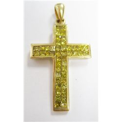 18k Yellow Gold Diamond Cross w/ Yellow Princess Cut Diamonds - 46 princess cut diamonds, TAW: 2.76