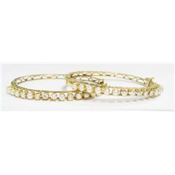 lot of (2) 14k Yellow Gold Bangles w/ Seed Pearls & Round Brilliant Cut Diamonds - 10 round brillian