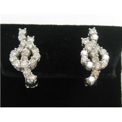 18k White Gold Pierced/Clip On Earrings w/ Round Brilliant Cut Diamonds - 34 round brilliant cut dia