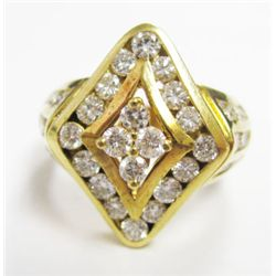 18k Yellow Gold Ring w/ Round Brilliant Cut Diamonds - 38 round brilliant cut diamonds, TAW: 1.55 ca
