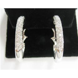 18k White Gold Pierced/Clip On Diamond Hoop Earrings - Approx. 1.59 carat of round brilliant cut dia