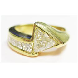 18k Yellow Gold Ring w/ Approx. 0.60 carat Trillion Cut Diamond & Princess Cut Diamonds - Approx. 0.