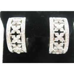 18k White Gold Pierced Hoop Earrings w/ Round Brilliant Cut Diamonds - Approx. 1.36 carat of round b