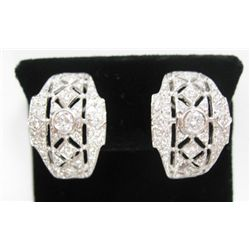18k White Gold Pierced/Clip On Earrings w/ Round Brilliant Cut Diamonds - Approx. 1.35 carat of roun